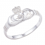 Sterling silver Cubic Zirconia claddagh ring